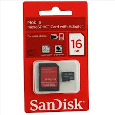 SANDISK 16GB MICRO SD CARD WITH ADAPTER
